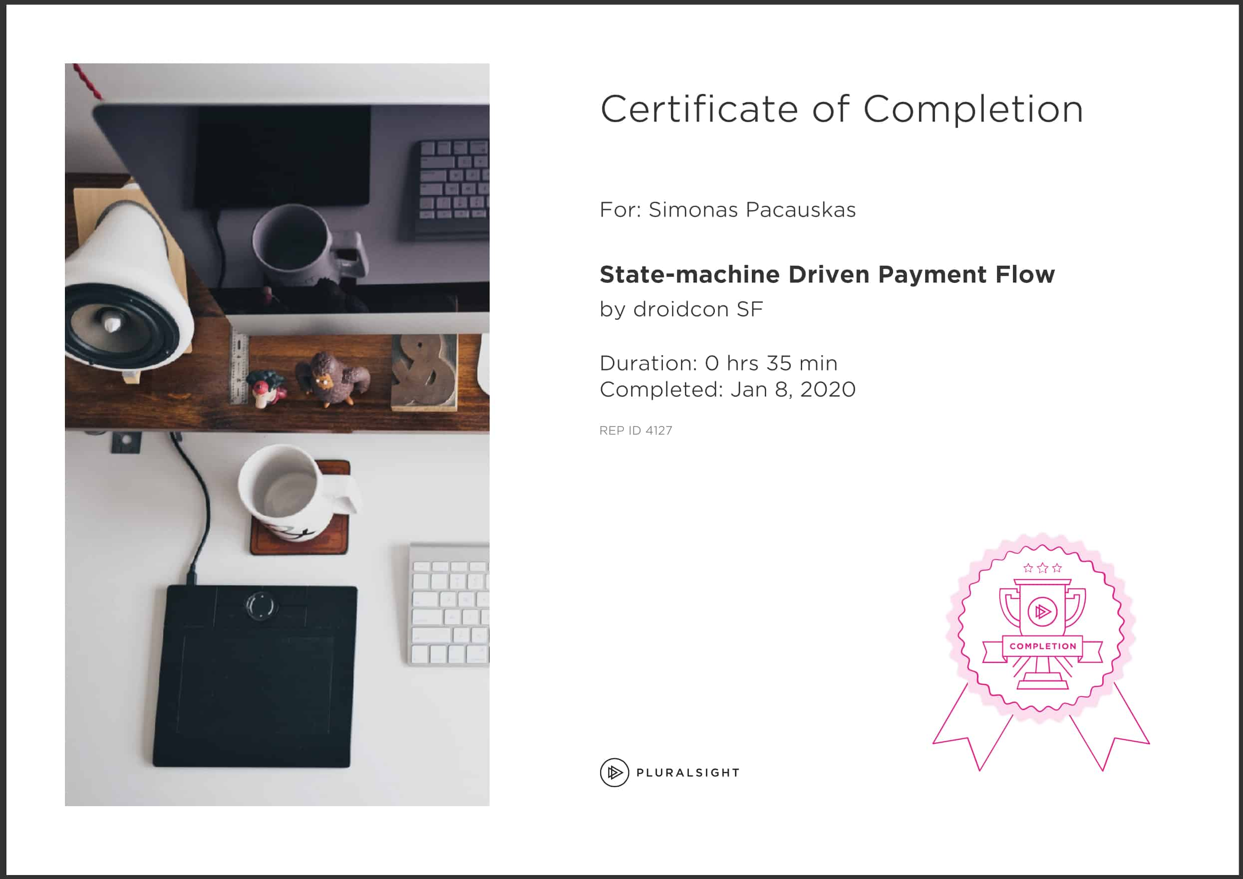 pluralsight certificate of completion
