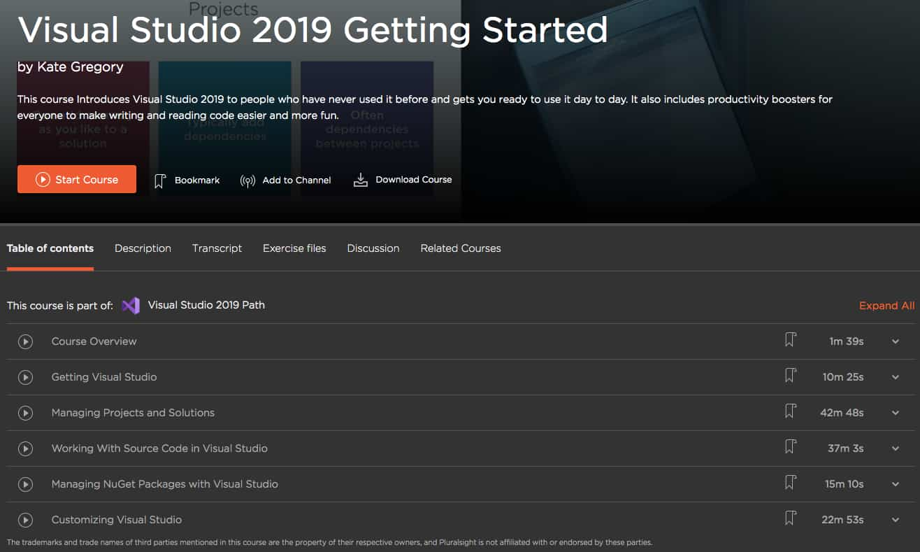 Visual Studio 2019 Getting Started