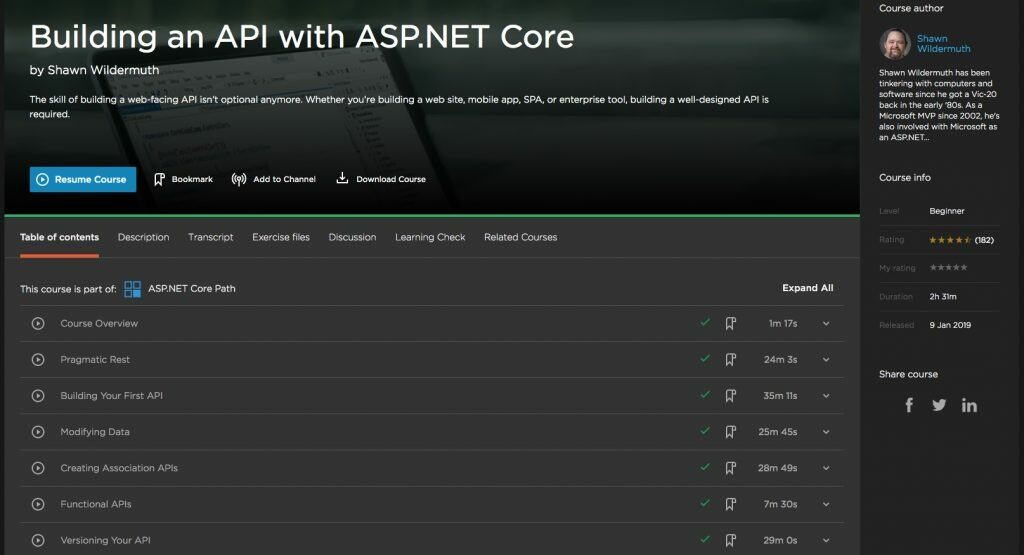 Building an API with ASP.NET Core
