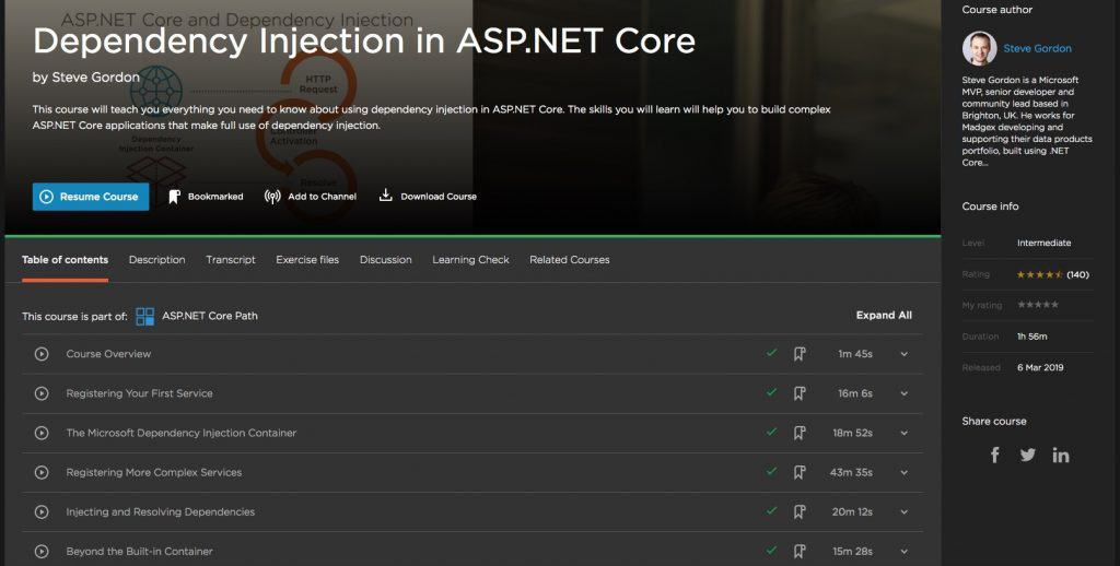 Dependency Injection in ASP.NET Core