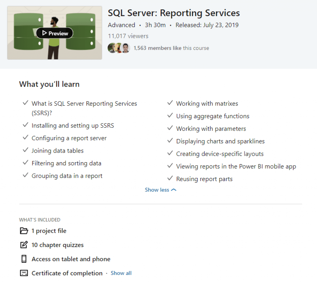 linkedin learning sql server reporting services