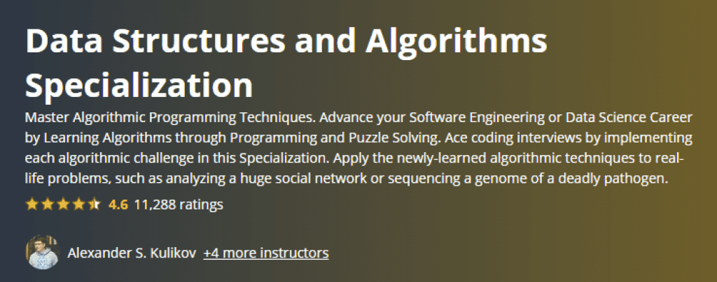 Data Structures and Algorithms Specialization